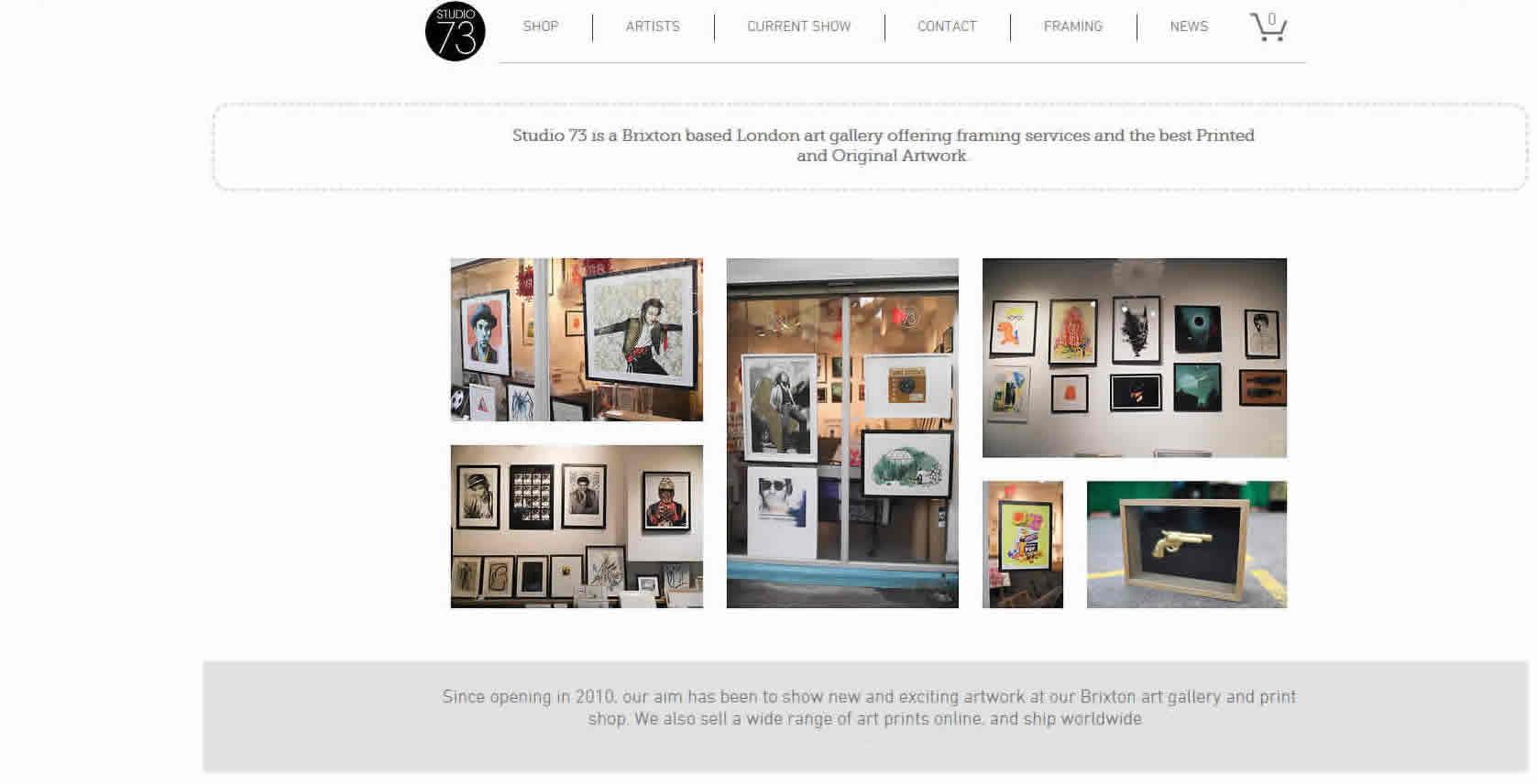 studio73 website page